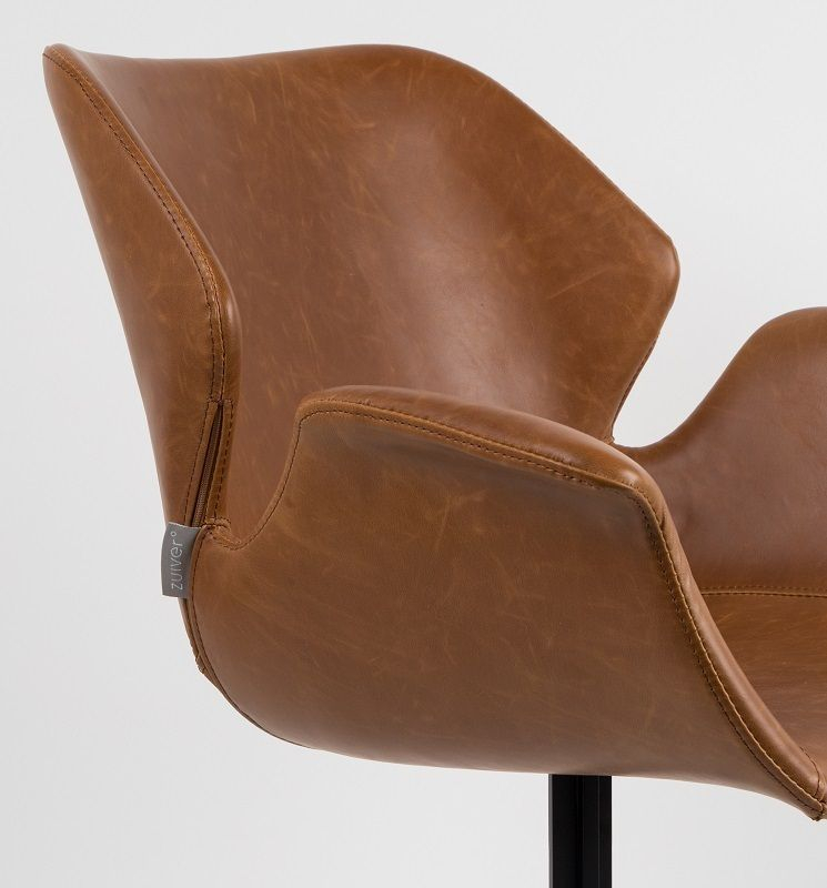 Zuiver Nikki Spisebordsstol - Brun PU læder - Spisestol med armlener