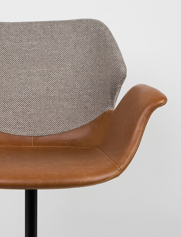 Zuiver Nikki Spisebordsstol - Brun PU sæde - Brun spisestol med stoffrygg