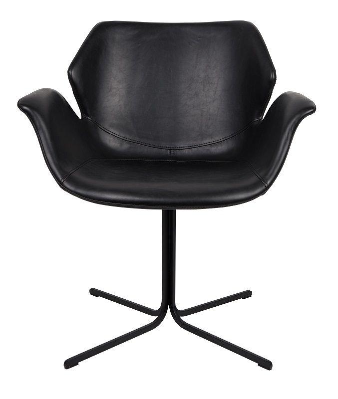 Zuiver Nikki Spisebordsstol - Sort PU læder - Spisestol med armlener