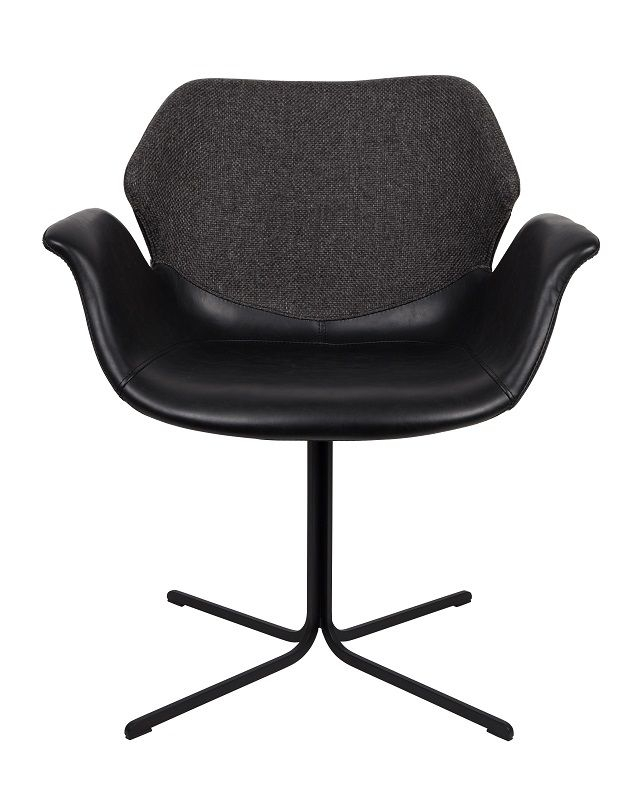 Zuiver Nikki Spisebordsstol - Sort PU sæde - Sort spisestol med stoffrygg