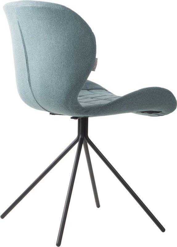 OMG Spisebordsstol - Blå - Polstret spisebordsstol i lækkert design og blåt stof