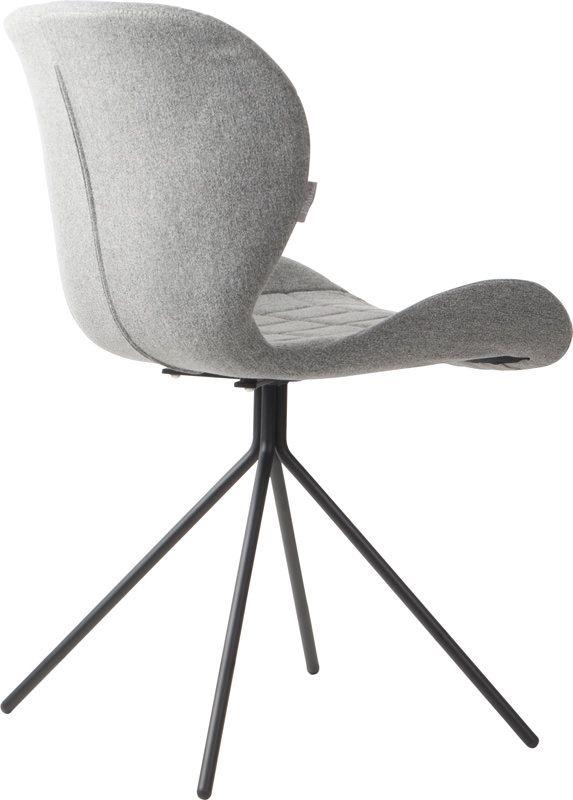 Zuiver - OMG Spisebordsstol - Grå stof - Polstret spisebordsstol i lækkert design og grå stof