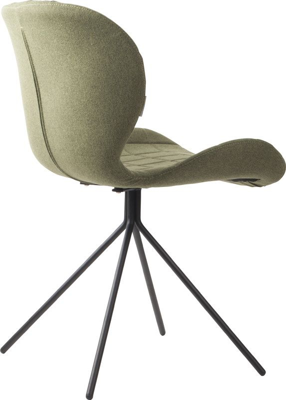 Zuiver - OMG Spisebordsstol - Grøn stof - Polstret spisebordsstol i lækkert design og grønt stof