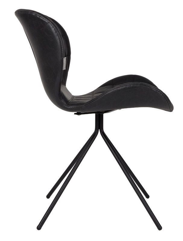 Zuiver OMG Spisebordsstol - Sort PU læder - Svart spisestol