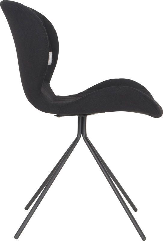 Zuiver - OMG Spisebordsstol - Sort stof - Polstret spisebordsstol i lækkert design og sort stof