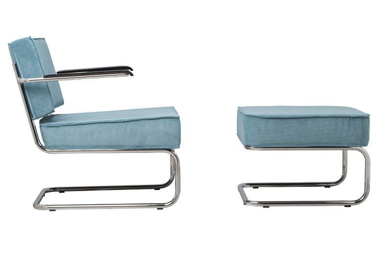 Zuiver - Ridge Loungestol m/arm - Blå fløjl - Blå loungestol i nylon og krom