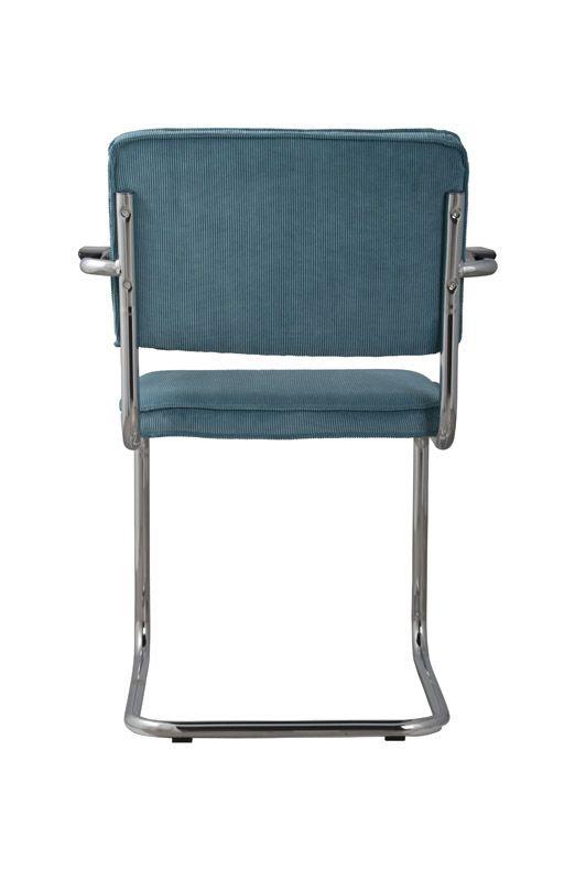 Ridge Spisebordsstol - Blå spisestuestol med fløjl