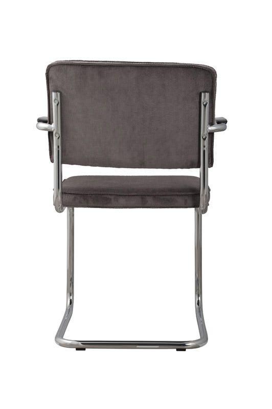 Zuiver Ridge Spisebordsstol m/arm - Grå fløjl - Spisestuestol med grå fløyel