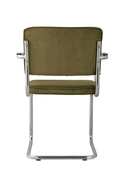 Zuiver Ridge Spisebordsstol m/arm - Grøn fløjl - Spisestuestol med grønn fløyel