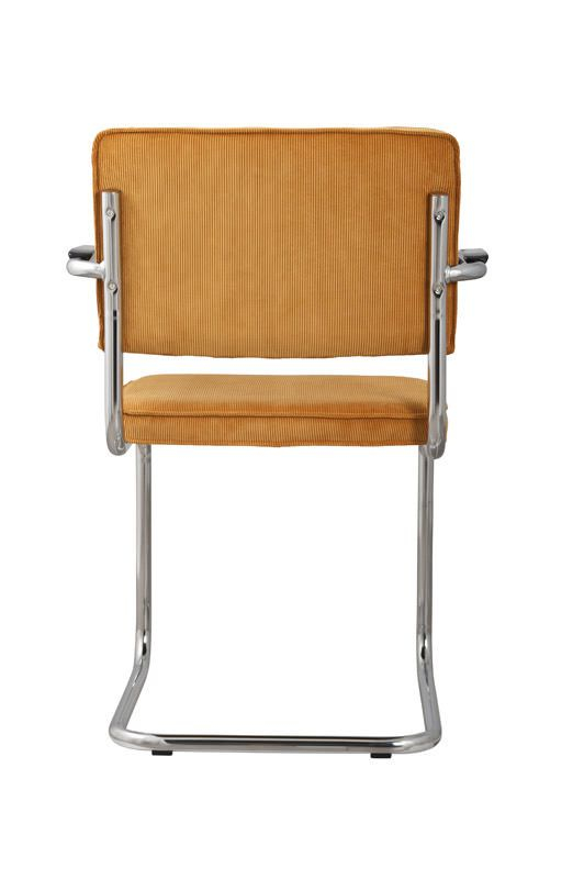 Zuiver Ridge Spisebordsstol m/arm - Gul fløjl - Spisestuestol med gul fløyel