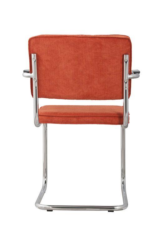 Zuiver - Ridge Spisebordsstol m/arm - Orange fløjl - Orange spisestuestol med fløjl