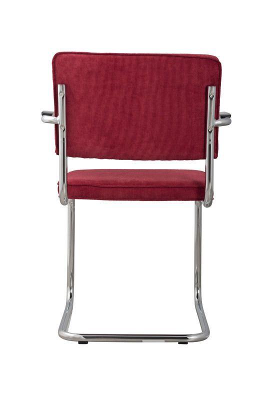 Zuiver Ridge Spisebordsstol m/arm - Rød fløjl - Spisestuestol med rød fløyel