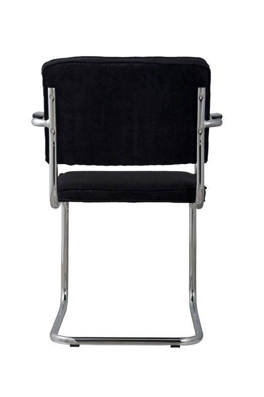 Zuiver - Ridge Spisebordsstol m/arm - Sort fløjl - Sort spisestuestol med fløjl
