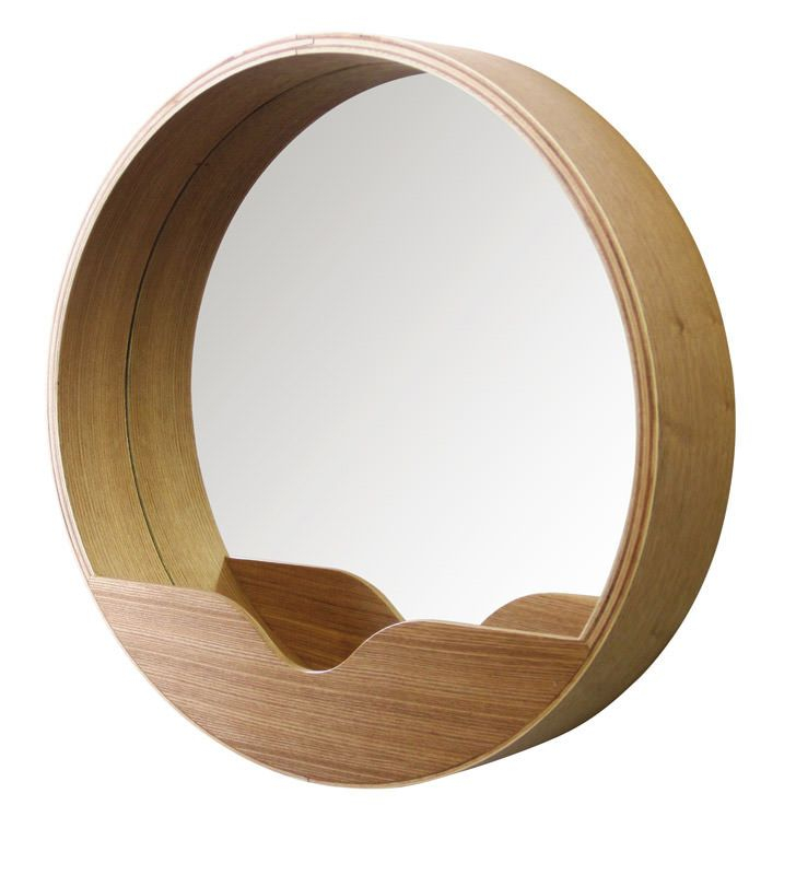Zuiver - Round Spejl - Ø40 - Rundt spejl med hylde. Spejlet er belagt med lys egefinér