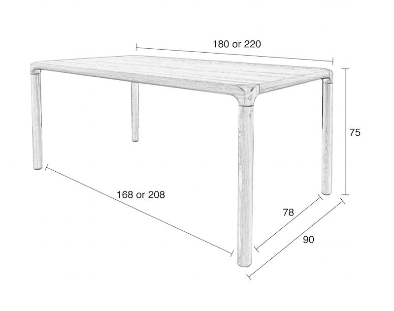 Zuiver Storm Spisebord - Sort Askefinér, 90x180 - Svartlakkert spisebord 180 x 90 cm