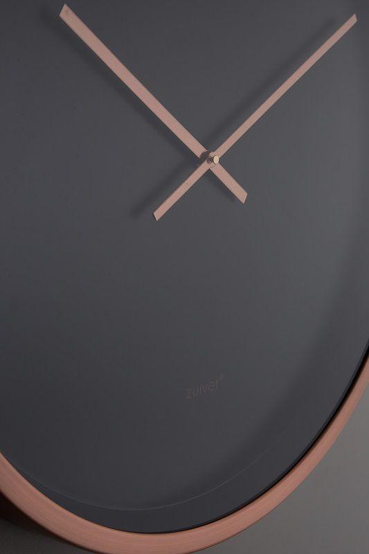 Zuiver Time Bandit Vægur - Sort/kobber - Ø60 - Veggklokke med kobberkant