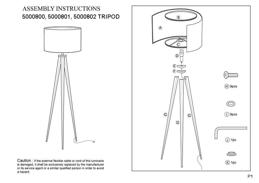 Zuiver Tripod Wood Gulvlampe - Hvid - Hvit gulvlampe i trefiner