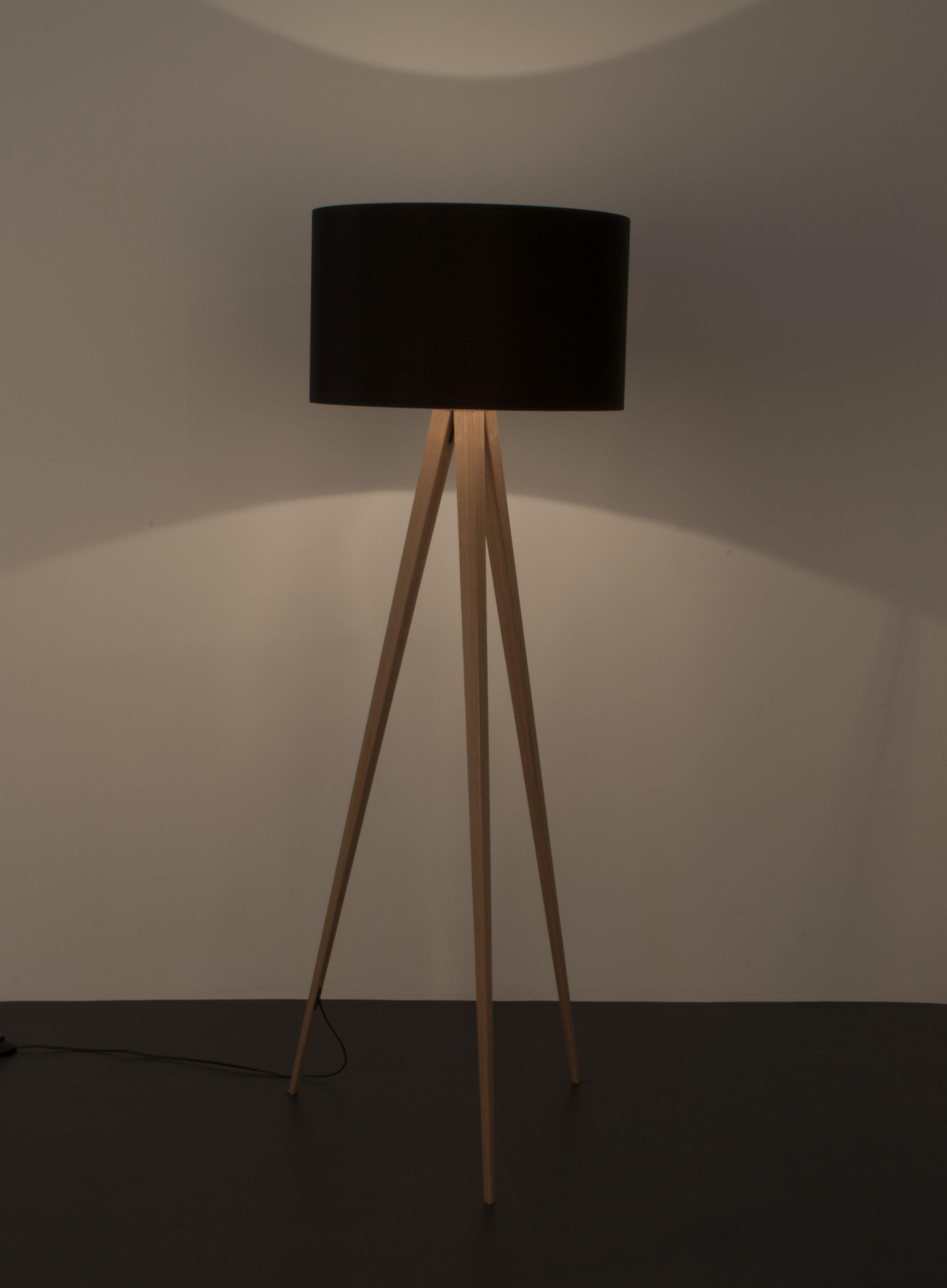 Zuiver - Tripod Wood Gulvlampe - Sort - Sort gulvlampe i træfiner