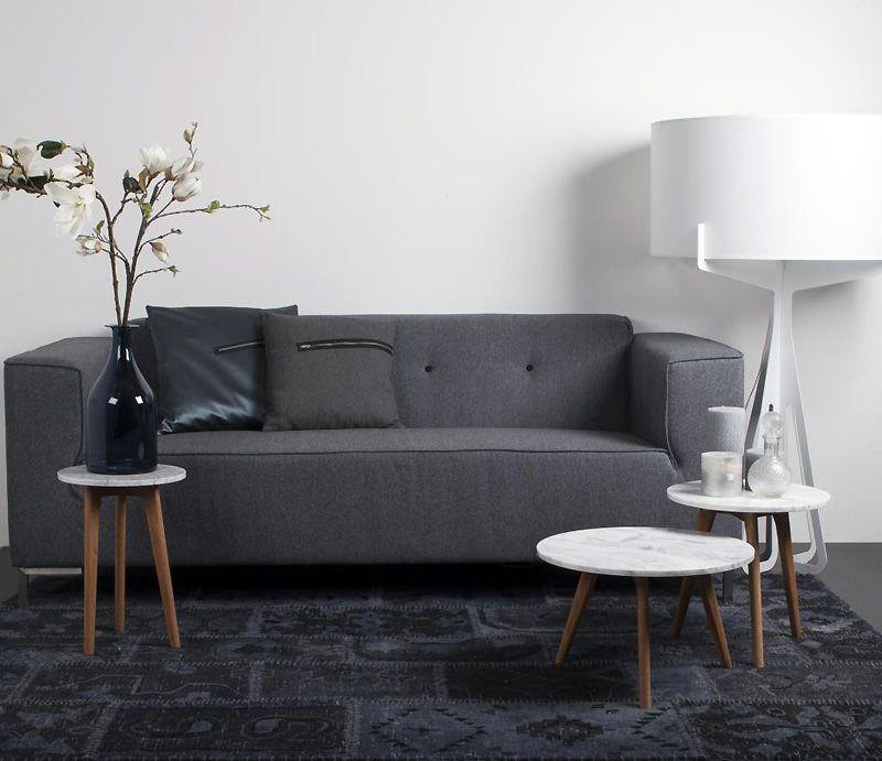 Zuiver - White Stone Sofabord - Hvid - Ø32 - Sidebord med marmor og egeben