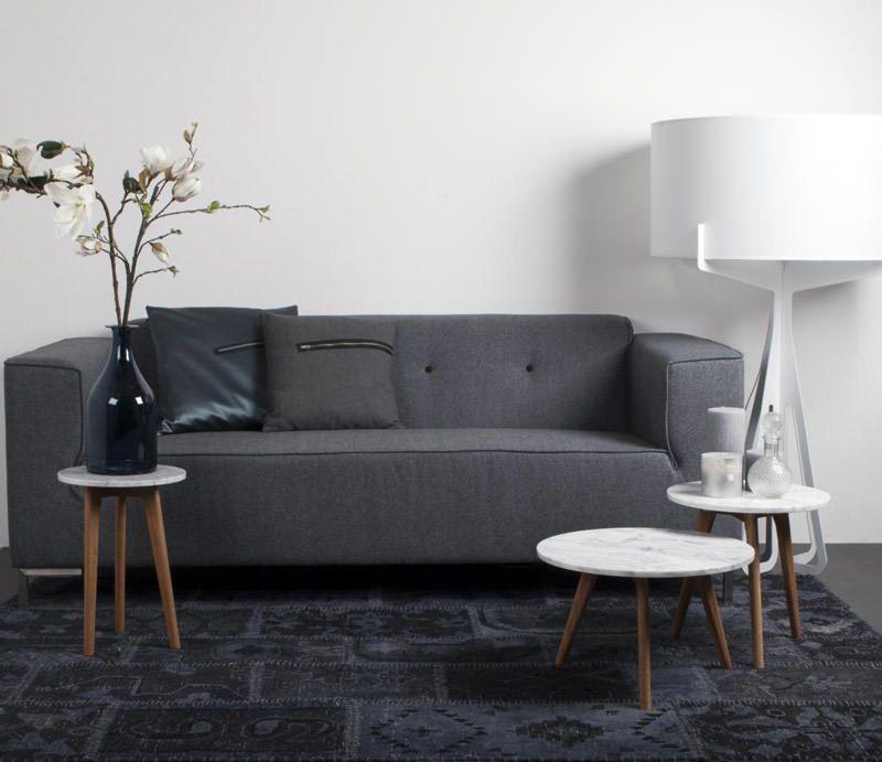 Zuiver - White Stone Sofabord - Hvid - Ø40 - Trendy lille sofabord i marmor