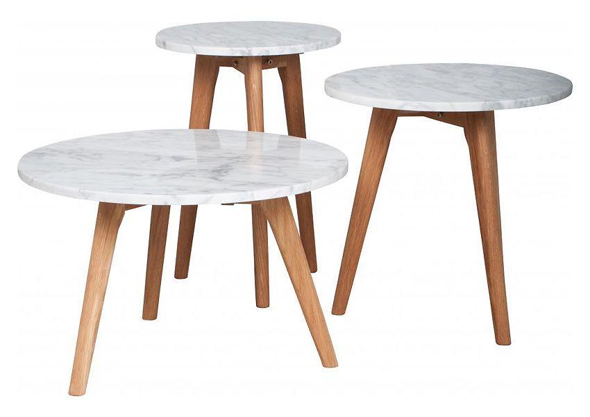 Zuiver - White Stone Sofabord - Hvid - Ø50 - Flot sofabord med marmor bordplade