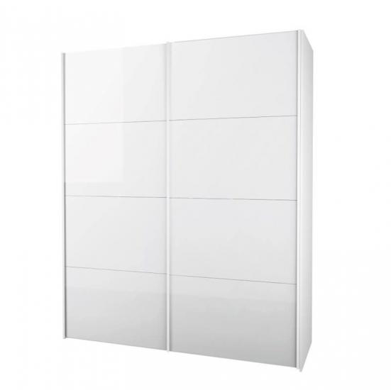 Firenze Garderobeskab - Garderobeskab i hvid med skydelåger i hvid højglans