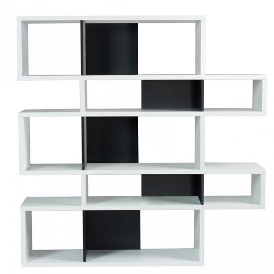 Temahome - London Reol - Hvid/Sort H:160 - Asymmetrisk reol i hvid/sort