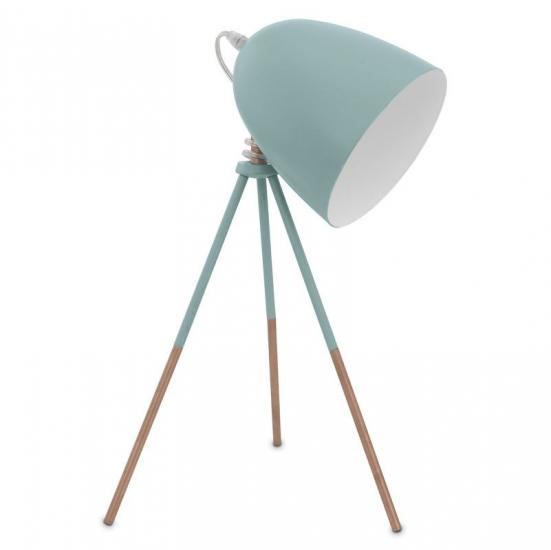 VINTAGE - Mintgrøn Bordlampe - Mintgrøn bordlampe på tre ben