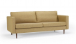 Kragelund Obling 3-pers. sofa Gul - Helpolstret sofa med ben i valnød