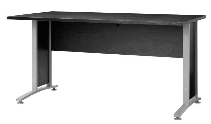 Prima Skrivebord - Skrivebord i sort ask m. sølvgrå stål - 150 cm