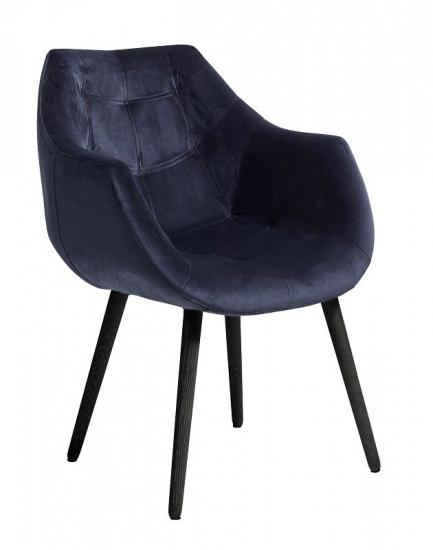 Nordal - Spisebordsstol m/armlæn - Blå - Blå spisebordsstol med armlæn