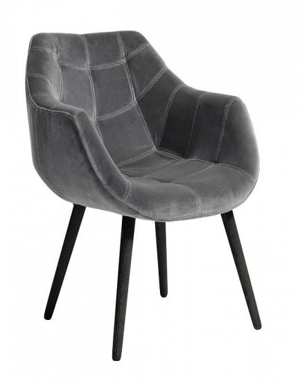 Nordal - Spisebordsstol m/armlæn - Grå - Grå spisebordsstol med armlæn