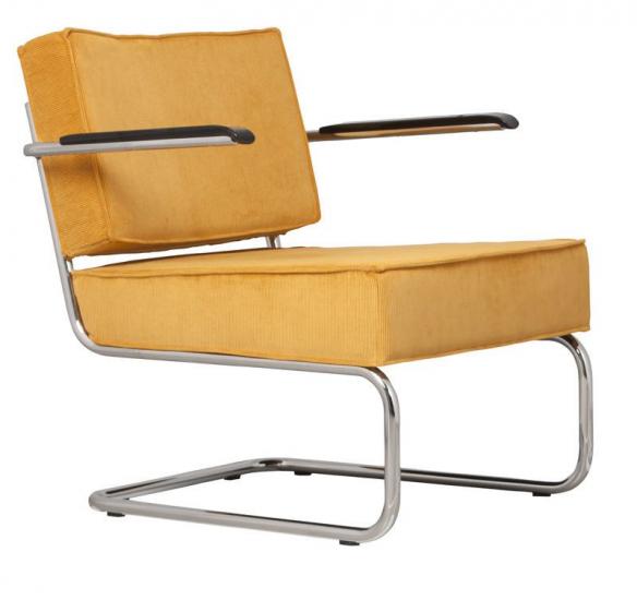Zuiver - Ridge Loungestol m/arm - Gul fløjl - Gul loungestol i nylon og krom