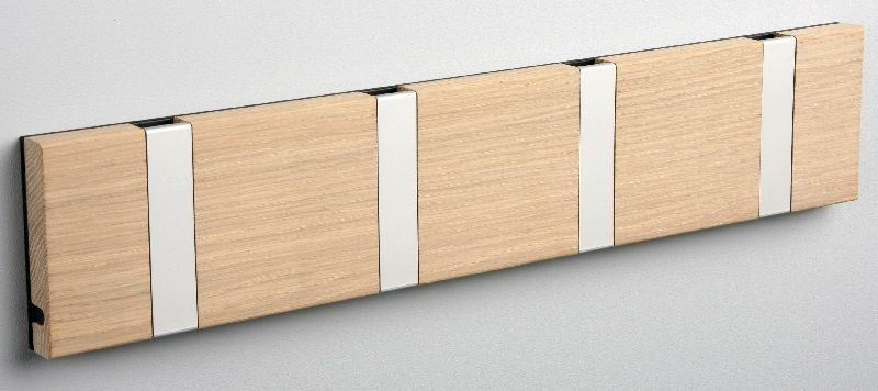 KNAX knagerække - Eg - 4 aluknager - Knagerække med 4 aluminiumsknager