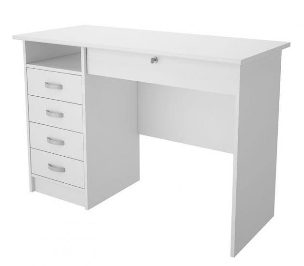 Function Skrivebord - Hvidt skrivebord med 5 skuffer
