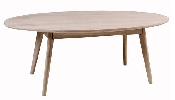 Bello Sofabord - hvidvasket eg - Ovalt bord i hvidvasket eg