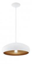 Mogano Pendel - Hvid - Hvid pendel med kobberfarvet inderside
