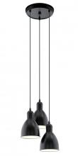 Priddy Loftslampe m. 3 Pendler - Sort - 3 pendler med klokkeformet skærm