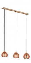 Rocamar - Kobber Loftlampe m. 3 pendler - Kobberfarvet pendel