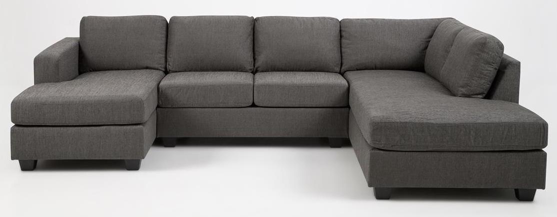 N/A – Jill u-sofa - grå m. hvilemodul til højre fra unoliving.com