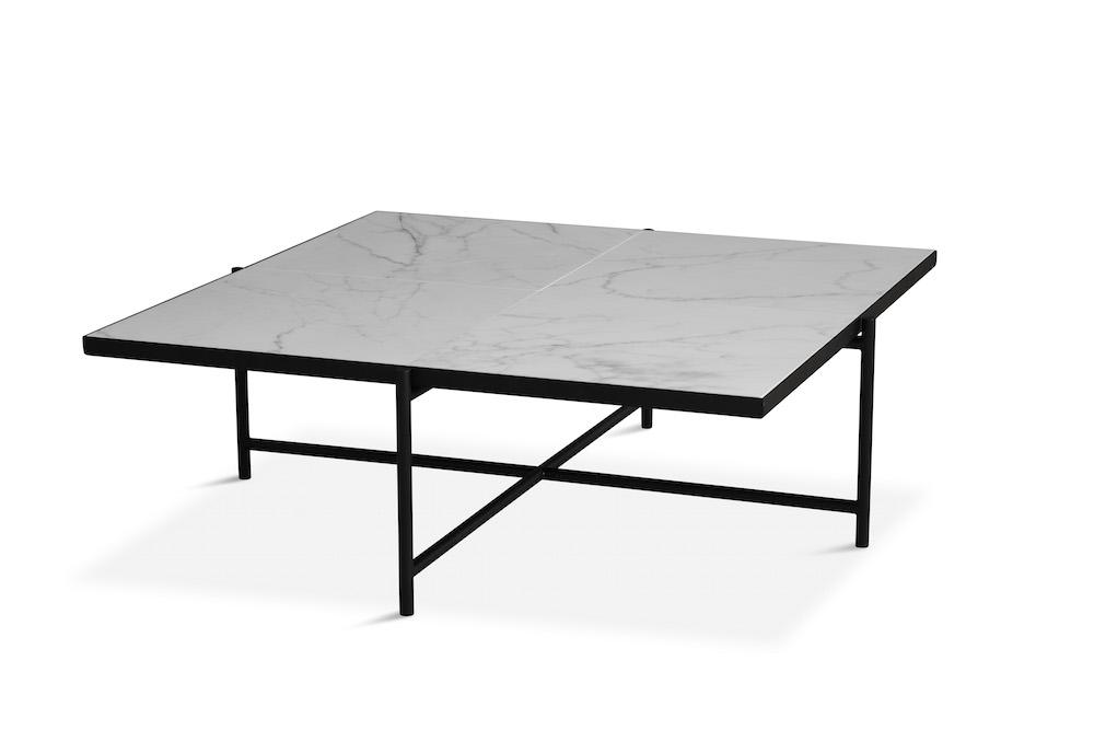 """Handvã""""rk Handvã""""rk - sofabord 92x92 - hvid marmor, sort stel fra unoliving.com"""