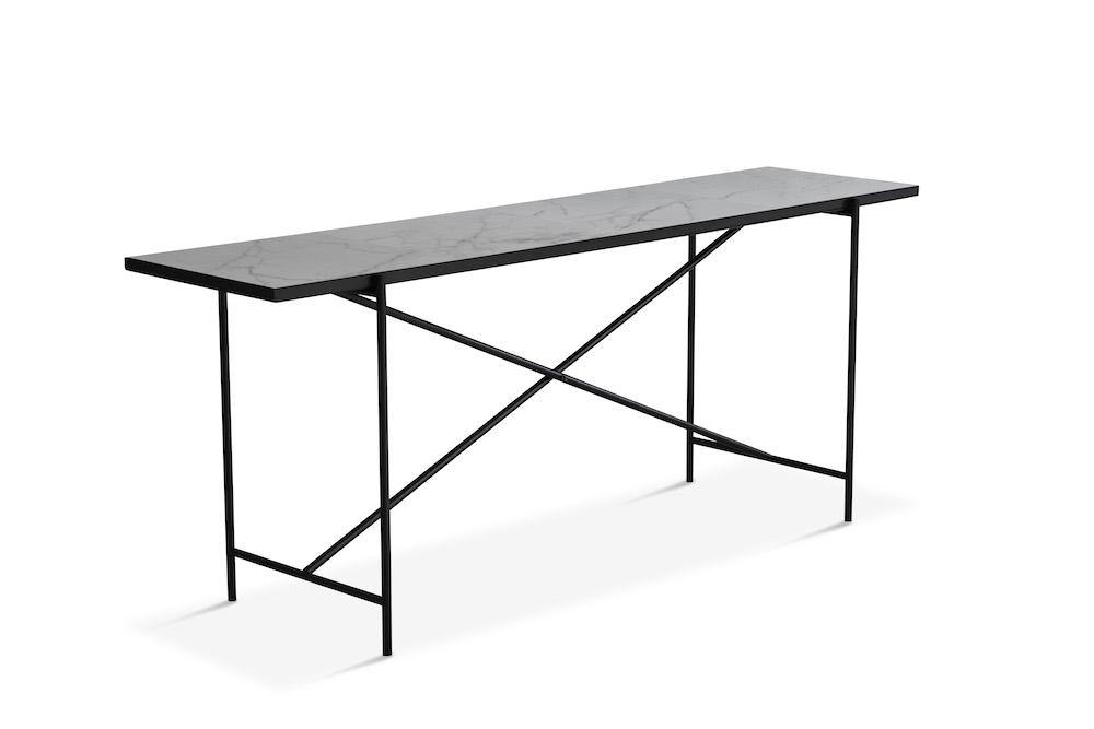 """Handvã""""rk Handvã""""rk - konsolbord 184x46 - hvid marmor, sort på unoliving.com"""