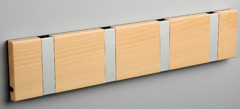 Knax Knax knagerække - bøg - 4 aluknager på unoliving.com