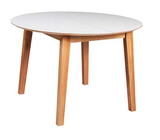 N/A – New shape rundt spisebord m. udtræk - hvid m. eg fra unoliving.com