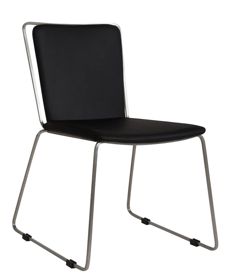 Canett – Gamma spisebordsstol - sort stof og børstet stål på unoliving.com