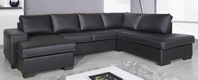 Costa sofa med chaiselong - sort læder fra N/A fra unoliving.com
