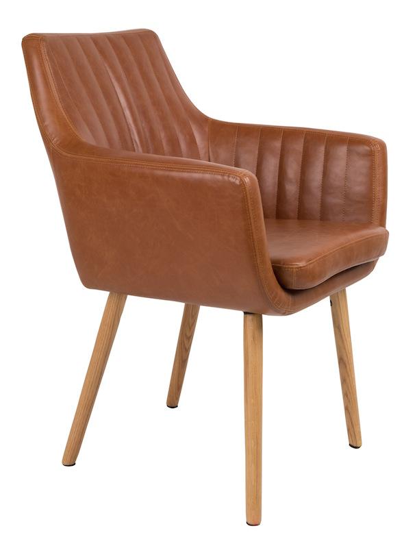 Homii spisebordsstol - brun pu læder sæde fra N/A på unoliving.com